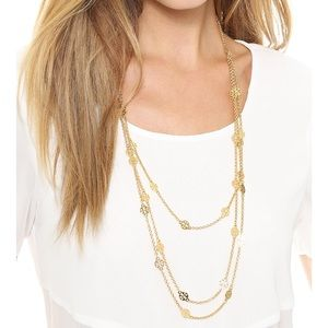 Tory Burch Multi Strand Logo Necklace Gold $129